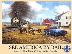 See America By Rail large steel sign 400mm x 300mm (ogu)